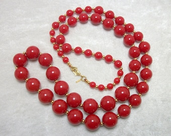 Red Lucite Bead Necklace by MONET - Vintage 60s Jewelry