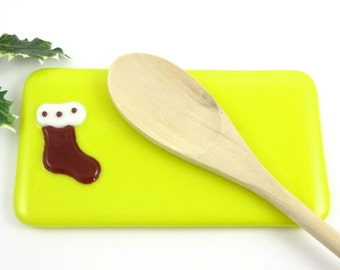Christmas Spoon Rest - Yellow Christmas Stocking Spoon Rest - Holiday Butter Dish - Christmas Butter Dish - Glass Stocking