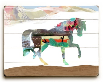 HORSE Collage Art on Planked Wood, Wall Art