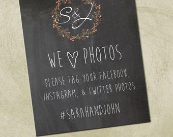Printable 8x10 PDF- Wedding/Event Social Media Sign