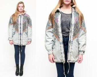 90s Vintage Oversized Acid Stone Washed Denim Corduroy Patchwork Bomber Jacket Coat