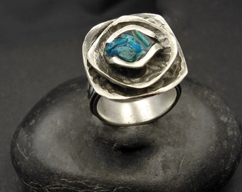 Ring, silver and turquoise, one of a kind, artisan, SALE   Turquoise and Silver Ring