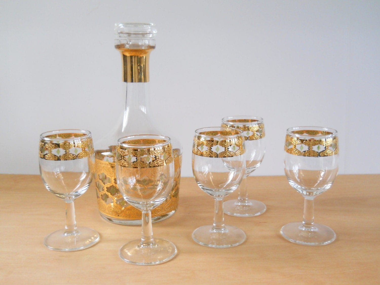 Vintage culver valencia set wine sherry glasses and decantur - Vintage valencia ...