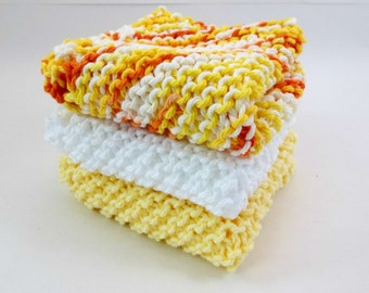 Knit Cotton Cloths Sunny Yellow and White Cotton Wash Dish Cloths Set of 3