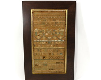 1740s Fine Antique Sampler | Boston School | Geometric Forest with Birds | Alphabets | Historic Textile
