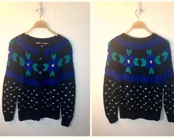 Vintage 80s Fair Isle Knit - Wool Blend Sweater
