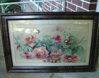 Vintage Water Color Roses Burl Walnut Frame Cottage Chic 1920s  Style of Paul de Longpre French Farmhouse