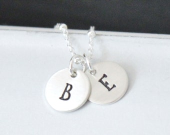 Hand Stamped Necklace ..  Mother's Necklace ..  Two Thick Initials Necklace .. Personalized Initials Necklace .. Sterling Silver