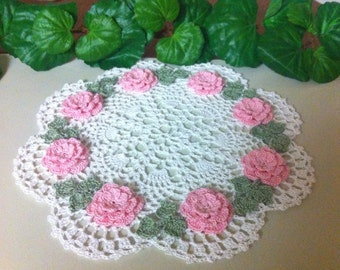 NEW Pink  roses crochet doily to order choose color