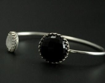 Black and White Cuff Bracelet--Onyx and Rainbow Moonstone Open Sterling Silver Cuff Bracelet--Princess Crown Bezel Cuff--Elegant Bracelet