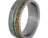 Titanium Wedding Ring for Him or Her with Dinosaur Bone Gibeon Meteorite, and Green Box Elder Burl Inlay Wedding Band