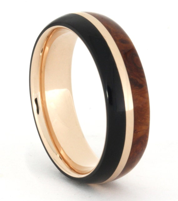 14k Rose Gold Ring with African Blackwood and Amboyna Burl Wood, Wood Wedding Band