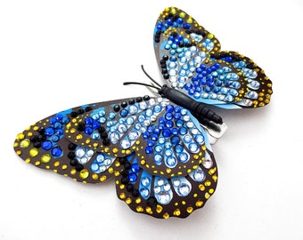 Blue and Yellow Jeweled Butterfly Hair Clip, Blue Rhinestone Butterfly Hair Barrette, Fantasy Rhinestone Butterfly Hair Piece