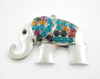 Silver-tone Elephant Charm Pendant Multi Color Rhinestones