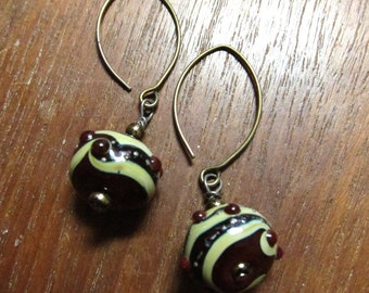 CABERNET CREAM Color Glass Earrings Murano Glass Lampwork Earrings Handmade Jewelry Fashion Jewelry Dangle Earrings by SusanHeleneDesigns