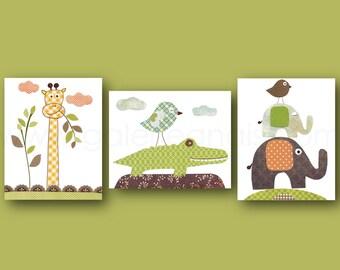 Crocodile Nursery art Jungle Nursery Wall Art Giraffe nursery elephant kids wall art Jungle nursery Playroom kids room decor Set of 3 print