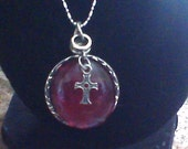 Cross Charmed Necklace ~Dark red~