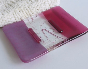 Fused Glass Soap Dish in Pink