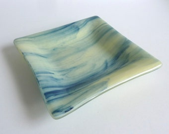 Fused Glass Dish in Streaky French Vanilla and Adventurine Blue