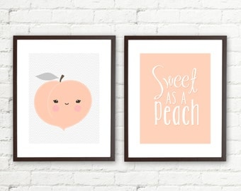 Sweet as a Peach  •Peach Chevron • Set of 2 • 11x14 Printables • Instant Download