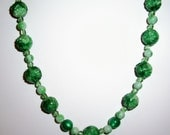 Frosty Green Glass Beads Strand Necklace Faceted Marbled Vintage 50s