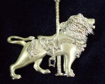 Carousel Lion Brooch Pin Silver Tone Rhinestones Leo Vintage 80s