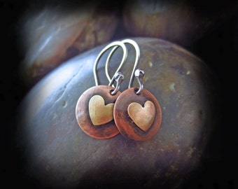 Mixed Metal Heart Earrings - Rustic Copper and Silver Earrings - Artisan Sterling Silver Earwires - RUSTIC HEARTS