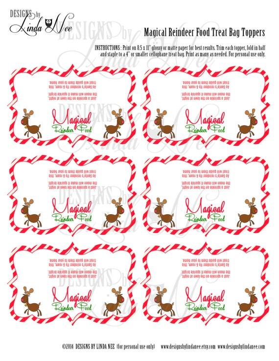 "Magical Reindeer Food - Treat Bag Topper 4"" - Printable - Party ..."