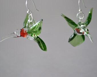 Handblown Glass Hummingbird Earrings