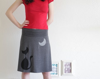 Cute Midi Skirts for Women, Plus size skirt for cat lovers, Midi jersey skirt plus size, Plus size skirts for women - Our cat and the moon-