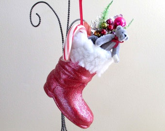 Paper Mache Santa Boot Ornament