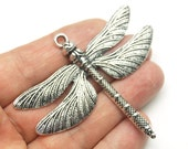 1pc- Silver  Plated HUGE Dragonfly Pendant-65x73mm (409-022SP)