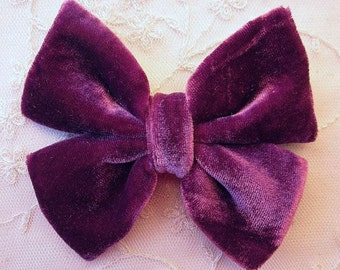4.75 inch EGGPLANT VELVET Ribbon Bow Applique Bridal Baby Hair Accessory Pin