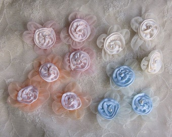 12pc Christening Baby Doll Pink Blue Peach Ivory Organza Satin Ribbon Rose Flowers w Pearl Bridal Hair Accessory Baby Bog Bow