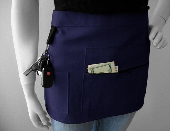 NAVY BLUE Vendor Apron - Unisex -  Canvas Waitress Apron - Hostess Apron