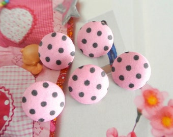 Handmade Sweet Retro Light Pink Gray Grey Polka Dots Fabric Covered Buttons, Retro Polka Dots Fridge Magnets, Flat Back, CHOOSE SIZE 5's