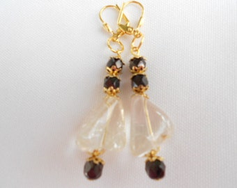 Citrine Crystal Earrings Gold and Black
