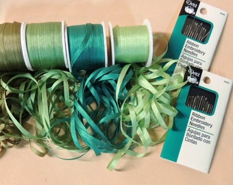 25 yards of 4mm width in shades of green 5 yards each color