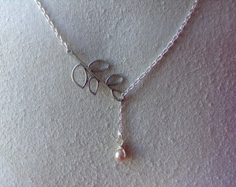 Silver Branch Necklace with A Pearl Drop