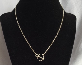 Sideways Anchor Silver Necklace, Anchor Necklace