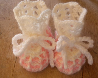 Crocheted Baby Booties, White and Pink Baby Booties, Newborn Baby Booties, Christening Booties, Baby Girl Booties, Three Month Old Booties