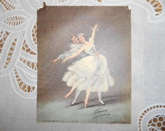 Old Litho Picture of a man and woman ballet dancing
