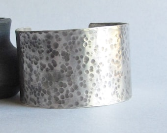 Hammered Sterling Silver Cuff - Wide Cuff Bracelet -Mother's Day Gift - 25th Anniversary Gift - Silver Anniversary