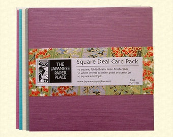 Sale! Japanese Cards -  Square Deal 10 Card Pack Dusk - Japanese Paper Place