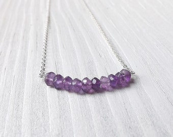 Amethyst Necklace Sterling Silver Gem Bar Necklace Tiny Purple Amethyst Gemstone Pendant, gift for women Simple Minimalist womens Jewelry