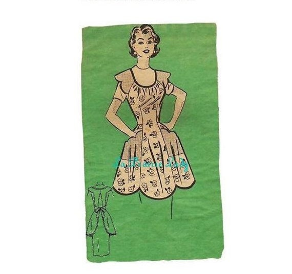 Repro Vintage Full Apron 50's PDF Pattern No 34 Available in M-L-XL