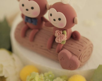 monkey wedding cake topper---k738