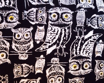Owls on Black Fabric By The Yard
