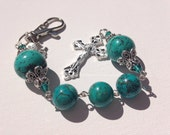 Handmade Catholic Rosary Keychain with Turquoise Magnesite Beads, Handmade Jewelry, Handmade Accessories, Custom Jewelry