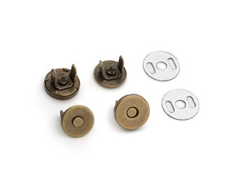 30 Sets Magnetic Purse Snaps - Closures 10mm Antique Brass - Free Shipping (MAGNET SNAP MAG-104)
